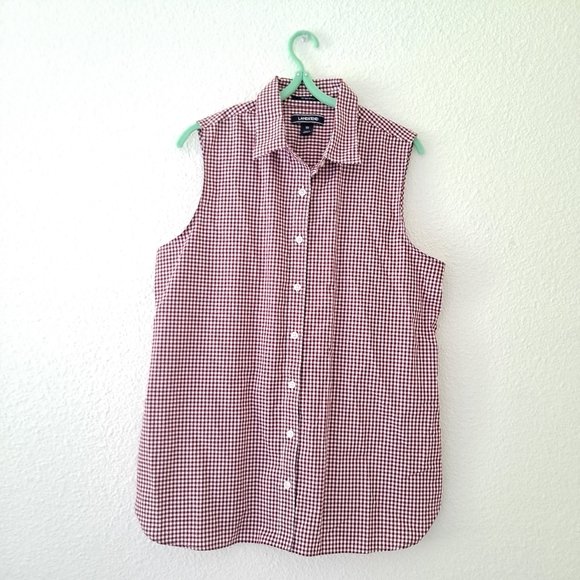 Lands' End Red Checkered Gingham Sleeveless Top